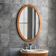 bathroom mirror wood 23 quot contemporary solid wood framed oval bathroom mirror