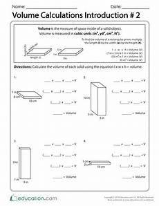 measurement equation worksheets 1425 volume calculations introduction 2 volume worksheets worksheets math lesson plans