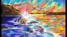 abstract golden gate bridge for beginner acrylic artists