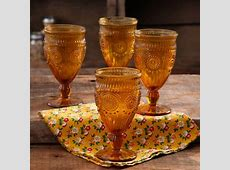 The Pioneer Woman 12 Ounce Amber Adeline Glass Goblet Set