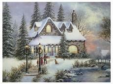 led bild weihnachten winterdorf mit 8 lichtern