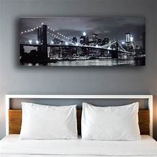 led wall picture black and white brooklyn bridge city night canvas art light up decor painting