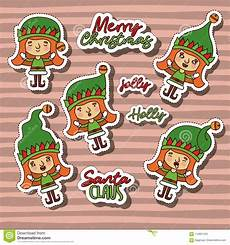 merry christmas with stickers pattern of gnome and christmas text with background color