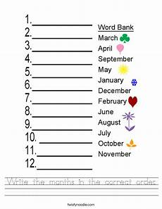 write the months in the correct order worksheet twisty noodle