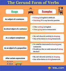gerunds ing form what are gerunds grammar rules and exles 7 e s l