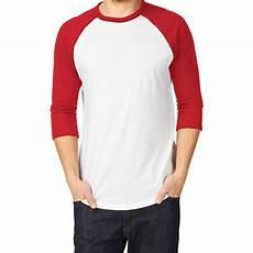 qoo10 kaos raglan untuk pria raglan t shirt putih merah pakaian pria