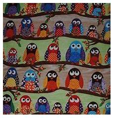 stoff eule stoff eule patchwork baumwolle what a hoot eule auf ast