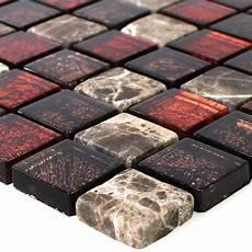 naturstein glas mosaik fliesen rot braun 23x23x8mm ebay