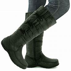 weite schuhe damen leather style wide calf knee flat boots size 3 8 ebay