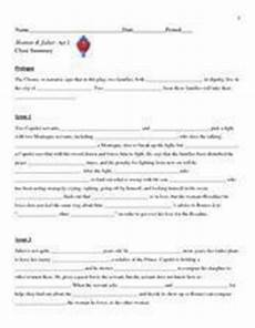 romeo and juliet act i cloze summary 9th grade worksheet lesson planet