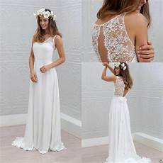 simple bohemian style wedding dress a line white ivory