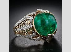 Antique Cabochon Emerald and Diamond Ring