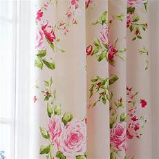 pink floral pencil pleat lined cotton curtains 66