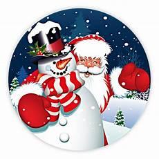 weihnachtsaufkleber rund quot schneemann mit weihnachtsmann