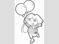 Dora segurando balões ? Colorir.org