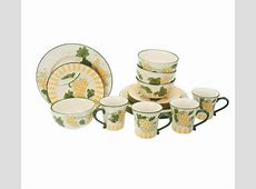 Lidia Bastianch 16 Piece Hand Painted Stoneware Dinnerware