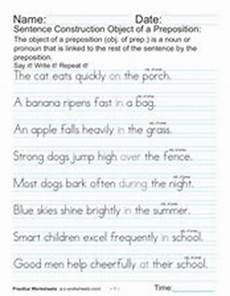 sentence construction object of a preposition 4th grade worksheet lesson planet