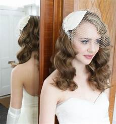 1940s 1950s vintage style headdress and birdcage veil with lace and silk bow white ivory