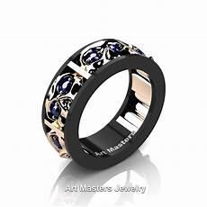 mens modern 14k black and rose gold blue sapphire skull channel cluster wedding ring r453