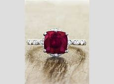 Loved: Vintage Inspired Cushion Cut Ruby Engagement Ring
