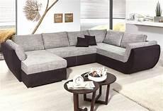sofa u form wohnlandschaft ontario 326x231 cm mikrofaser grau schwarz