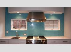 Aqua Glass Subway Tile   Grout, Stainless steel kitchen