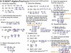 algebra worksheets year 11 8650 year 11 mcat 90127 revision page 6