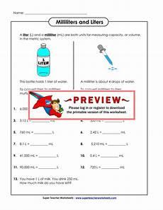 Milliliters And Liters Worksheets
