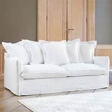 sofa weiss sofa 3 4 sitzer aus gewaschenes leinen wei 223 barcelone