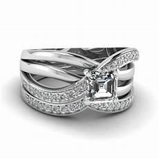 multi cross band asscher diamond wedding ring in 14k white gold fascinating diamonds