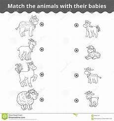 matching game for children farm animals and babies stock vector illustration of goat pony