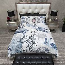 blue grey sea turtle coral theme bedding ink and rags