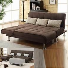 bed futon modern 2pc futon sofa set sofa chaise brown microfiber