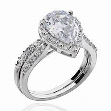 sterling silver pear shape cubic zirconia engagement