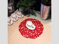 Round Laser Cut Flower Felt Placemats Kitchen Dinner Table