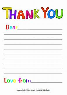 free printable thank you note paper for children search