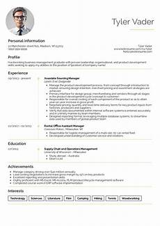 resume exles by real people business management graduate cv exle kickresume