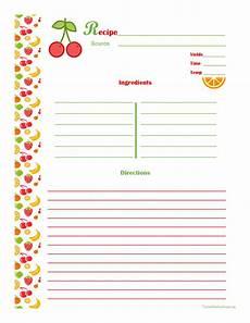 Recipe Card Book Template by Cherry Orange Recipe Card Page Printable Recipe
