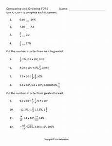 compare order fractions decimals percents scientific notation worksheet sol8 1