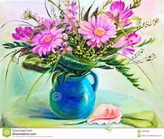 fiori in pittura fiori in vaso pittura a olio illustrazione di stock