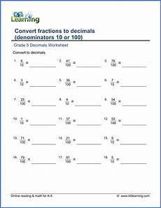 decimal worksheets grade 5 7041 grade 5 math worksheets convert fractions to decimals k5 learning