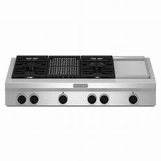 kitchenaid 48 in gas cooktop in stainless steel with