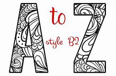 coloring letters of the alphabet b2 graphic objects creative market