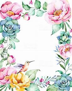 design fiori beautiful watercolor frame border with