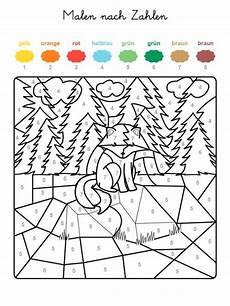 Weihnachten Ausmalbild Zahlen Kostenlose Malvorlage Malen Nach Zahlen Fuchs Im Wald