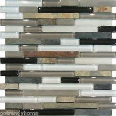 Glass Mosaic Kitchen Backsplash Sle Slate Glass Gray White Linear Mosaic Tile