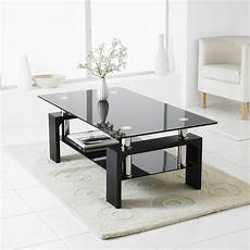 Glass Living Room Table black modern rectangle glass chrome living room coffee