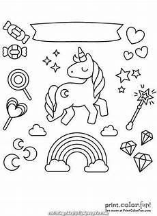great unicorn with rainbow and candies coloring