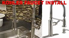 install kohler kitchen faucet how to install a kohler kitchen faucet unboxing and complete install step by step