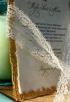 diy lace and real burlap wedding invitation rustic barn
